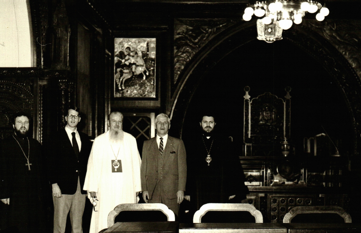Meeting with Romanian Orthodox leaders in 1982.