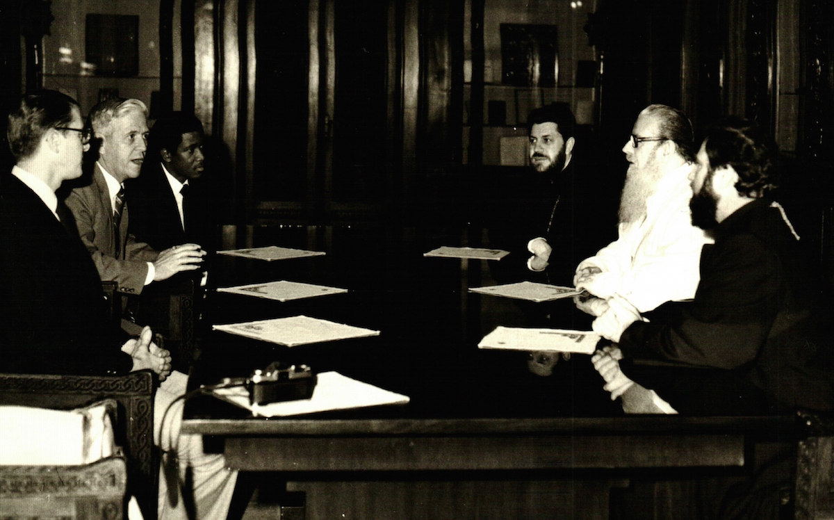 2 American representatives meeting with Romanian Orthodox   Leaders