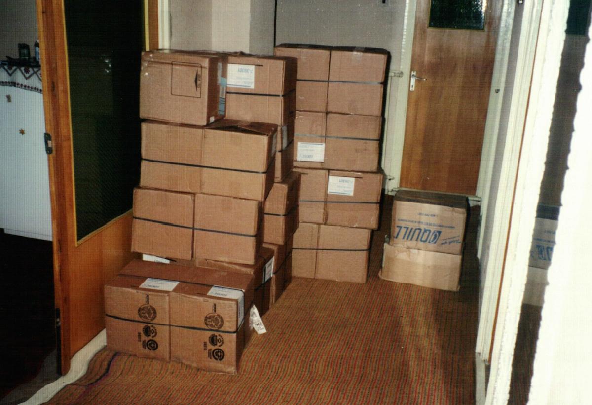 3 Boxes of Bibles awaiting distribution
